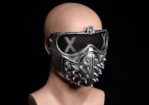 Wholesale Halloween Devil COS Anime Stage Mask Ghost Steps Street Rivet Death Masks Watch Dogs Cosplay Stage Party Face Masks Accessories EEA133