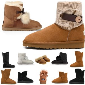 Wholesale Snow Winter Leather Women Australia Classic kneel half Boots Ankle over the knee booties Black Grey chestnut navy blue red Womens girl shoes