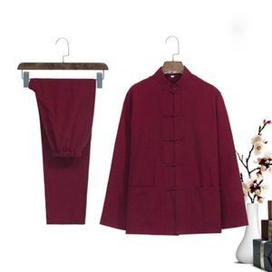 Wholesale New Burgundy Men s Chinese Kung Fu Suit Spring Autumn Long Sleeve Wu Shu Skirt Trousers Vintage Cotton Sets Size M XL