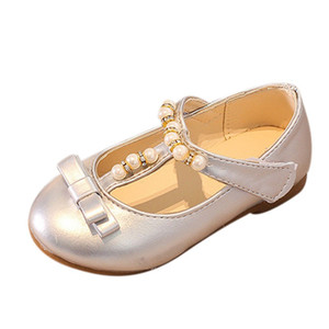 Wholesale Fashion Girls Flat Dress Party Shoes Children Toddler Kid Bowknot Pearl Princess Shoes