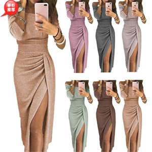 Wholesale Elegant Off Shoulder Sheath Cocktail Party Dresses 2019 Sexy Front Split Sweep Train Plus Size Sweep Train Formal Evening Wears Vestidos