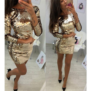 robe de paillettes d'or achat en gros de-news_sitemap_homeLadies formelle Soirée Sexy Party Sequin Club Short Robes sexy Robes Robes Femmes Automne d or Paillettes Robe moulante