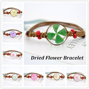 Wholesale New Style Dried Flower Bracelet Glass Ball Flower Starry Memorial Vintage Braided Bangle Bracelets Jewelry Gifts