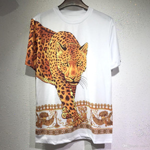 Wholesale 2019 summer New Brand casual Tee Mens leopard printing t shirt Men Tops fashion tee T shirt Men Hiphop Short Sleeve Clothing