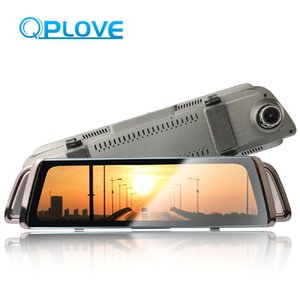 Wholesale QPLOVE P rearview mirror dvr car camera streaming media HD dual dash cam driving double recording night vision clear usb dvr