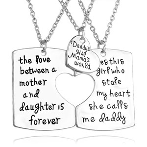 Wholesale arrive Hand stamped Jewelry quot daddy s girl mama world quot Daddy daughter mother necklace family Jewelry Set
