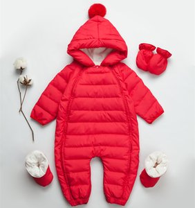 Wholesale HOT INS Newborn Baby down jacket onesies one-piece dress thickening boys and girls baby winter romper out clothes AAA001
