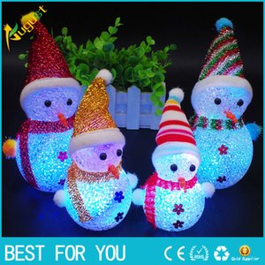 Wholesale 2018 Christmas LED Snowman Santa Light Up Christmas Ornament Small Light Tree Hanging Decoration