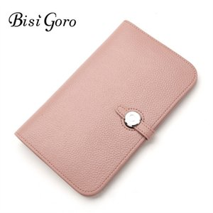 Wholesale Bisi Goro 2019 Fashion Cowhide Leather Wallet Money Bag For Phone Brand Women Long Coin Purse J190628