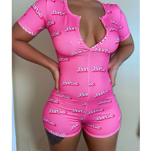 hot Women Nightwear Playsuit Workout Button Skinny Hot Print short sleeve Jumpsuits V-neck Short Onesies Women Plus Size Rompers