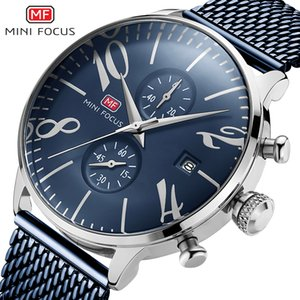 2019 Mens Watch Big Number Clocks Stainless Steel Mesh Band Bracelet Watches High Quality Wristwatch Blue Quartz Watches Men