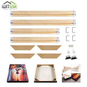 Wholesale NEW DIY Wooden Bar Frame Kit For Canvas Painting Art Stretcher Strip Gallery Wrap For Bar Oil Painting Wall Art Multiple Sizes SH190918