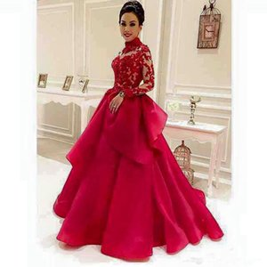 Wholesale Red Applique Lace High Neck Long Sleeves Arabic Formal Prom Evening Bridal Gown Ball Party Dresses Robe de Mariage robes de soiree