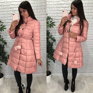 Wholesale 2018 Winter Snow Cotton Dresses Fashion Padded Ball Gown Women Long Coats Slim A line Women Puffer Jackets Hair Bulb Coat