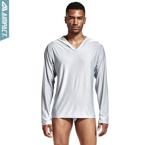 Wholesale Men s Polyester Satin Pajama Hooded Silk Shirts for men Long Sleeve Sexy Nightwear Comfortable Sleepwears Male PS503