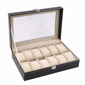 Wholesale 12 Slots Grid PU Leather Watch Box Display Box Jewelry Storage Organizer Case Locked Boxes Retro Saat Kutusu Caixa Para Relogio Free Shippin