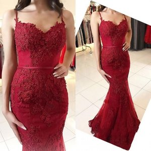 2019 Sexy Dark Red Evening Dresses Mermaid Spaghetti Lace Appliques Beads Sweep Train Backless Prom Gowns Custom Made Evening Gowns on Sale