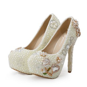 Wholesale 2019 Customized Luxury Diamond Rhinestone High Heels Women Wedding Shoes Ivory Pearl Bridal Platforms Adult Ceremony Party Prom Pumps