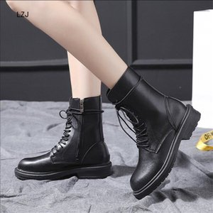Wholesale LZJ New Buckle Winter Boots Women British Style Ankle Boots Lace Up Gothic Punk Low Heel Ankle Boot Women Shoes