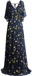 Fazadess Women's Floral Chiffon V Neck Poet Sleeve Backless Long Party Dress on Sale