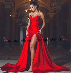 2019 New Sexy Red stain Evening Dresses backless High Split Formal Prom Gowns with detachable train beaded sash Formal Dresses Evening Wear on Sale
