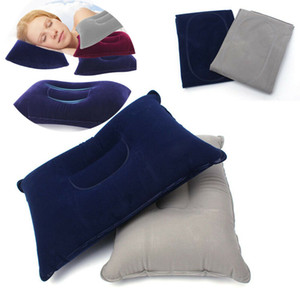 Portable Pillow Travel Air Cushion Inflatable Double Sided Flocking Cushion Camp Beach Car Plane Hotel Head Rest Bed Sleep on Sale