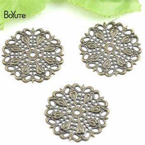 Wholesale BoYuTe Pieces Metal Brass MM Filigree Peacock Feather Materials DIY Hand Made Jewelry Accessories