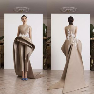 Wholesale Krikor Jabotian Appliques Women Jumpsuits Dresses Evening Wear Ruffle Peplum Elegant Sleeveless Prom Party Dress Long Train Formal Gowns
