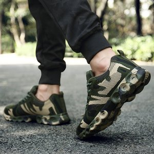 PUAMSS Men Sneakers 2018 New Rubber Running Shoes Army Green Breathable Mesh Sport Shoes Male Sneakers Travel Training Shoes