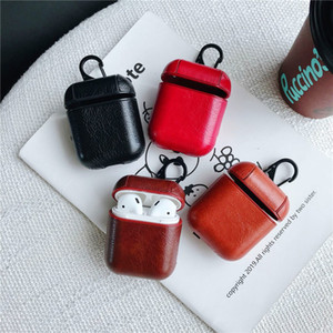 Wholesale Leather Airpods Case for Apple Airpods earphones Protector PU Cover Anti Lost Hook Clasp Keychain shockproof Airpod Pouch
