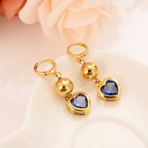 Wholesale 24k gold plated round beads blue crystal heart set with dubai Indian ball bridal jewelry jewelry earrings wedding engagement souvenir gift