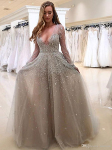 Wholesale Lace Wedding dresses hot selling V neck sequins long sleeve beautiful decoration skirt bohemian wedding dress bridal gowns