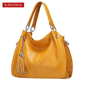 Wholesale Amazon Yellow Women Genuine Leather Hobo Bag Female Real Leather Handbag Luxury Woman Office Fashion Bag Large Bags