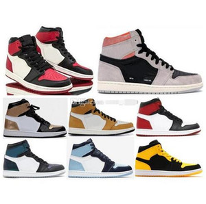 2019 High OG 1 Neutral Grey Bred Toe UNC Patent Basketball Shoes Men 1s Gold Toe Top 3 Black Toe Chameleon Sneakers With Box on Sale