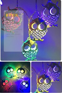 Wholesale Owl bedside lamp in children s room lamp Iron owl lamps string LED Christmas decoration animal model lamp string