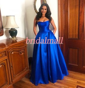 Wholesale Royal Blue Satin Long Prom Dresses 2019 Sweetheart Party Ball Gowns Corset Back Formal Evening Gowns Cheap Celebrity Dress Vestido de fiesta