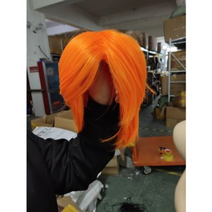 Wholesale Hair Care Wig Stands Fiber Wigs Unisex Short Hair Straight Cosplay Party Styling Cool Wig cm Halloween Party Dec10