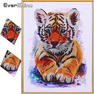 wholesale Diamond Embroidery Tiger Special Shaped DIY Diamond Painting Animal Picture Of Rhinestones Mosaic Handmade Home Decor