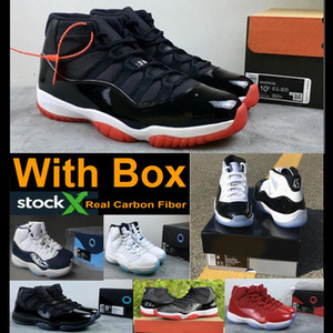 New 2019 11 Bred 11s Concord 11 Real carbon fiber Top Quality Gym Red Gamma blue Midnight Navy Basketball shoes With Box Men