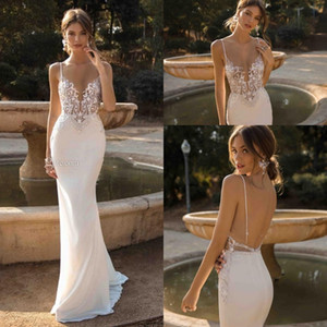 2019 Berta Mermaid Backless Wedding Dresses Plunging Neck Beaded Beach Lace Bridal Gowns Bohemian Plus Size Vestido De Novia on Sale