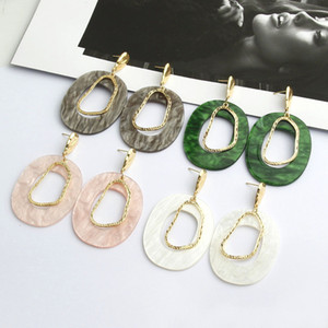 Wholesale Fashion Irregular Acrylic Earring for Women Geometric Hollow Out Statement Long Dangle Earrings Summer Beach Holiday Jewelry Gifts