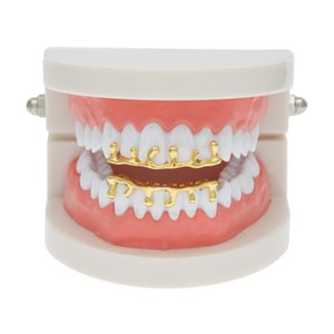 Wholesale Hip Hop Gold Silver Grillzs Single Tooth Grillz Cap Top Bottom Grill Bling Custom Teeth Volcanic Rock Drop Shape Punk Hip Hop Jewelry
