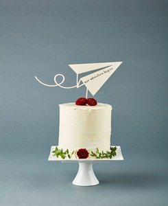 Wholesale Paper Airplane Travel Adventure Cake Topper Cake Topper Wedding Wooden Baby Shower Cake Engagement party Our Advent