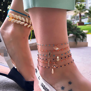 Wholesale Retro Anklet fashion line rope geometry fruit pineapple rope geometry fruit pineapple hippocampus eye animal anklet footwear