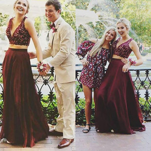 Wholesale Burgundy Sexy Two Piece Prom Dress Uk Cheap Top Lace Full Length Chiffon Long Formal Party Dresses Evening Wear Simple Open Backs