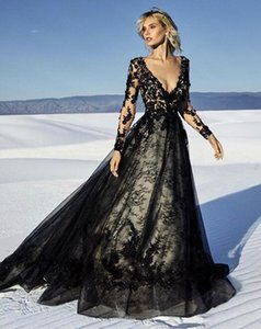 Wholesale 2020 Sexy Illusion black A-line Evening Dresses Long sleeves Lace Appliqued Sheer V Neck See Through custom made Formal Prom Party Gowns