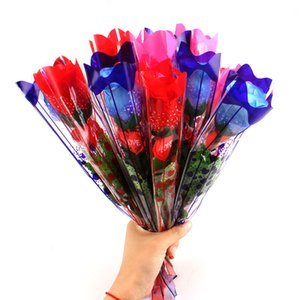 Wholesale LED Lighted Roses Luminous Artificial Flowers Red Pink Blue Roses Valentine s Day Gifts for Girls Lovers