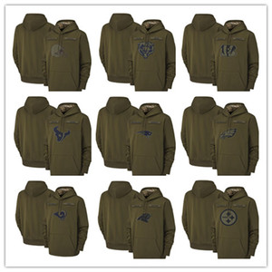 2019 Salute to Service Olive Men Hoodie Green Bay Chicago Packer Bear Minnesota Kansas City Viking Chief Pullover Houston Sweatshirt Texan on Sale