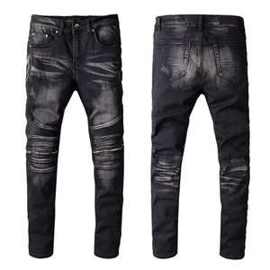 Wholesale men's leather pants resale online - Men s Moto Zippers jeans Patchwork Leather Ripped Skinny Denim Washed Black Biker pants Stretch Slim Trousers Size