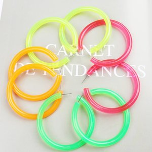 Wholesale Trendy Large Hoop Earrings for Women Big Green Round Acrylic Earrings Circle Geometric Brincos Punk Rock Party Jewelry Gift